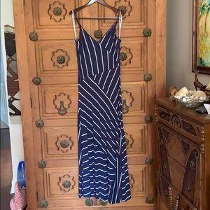 Calvin Klein Navy Blue Striped Patio Dress